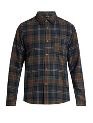 A.P.C. Trevor Checked Wool Blend Shirt Blue Multi