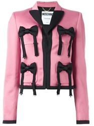 Moschino Bow Tie Embellished Jacket Pink Purple