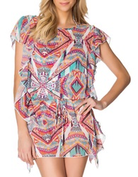 Jessica Simpson Abstract Print Chiffon Cover Up Cool Mint