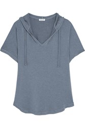 Splendid Hooded Stretch Modal Jersey Top Blue