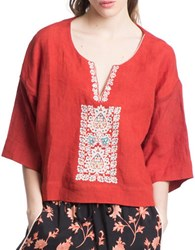 Plenty By Tracy Reese Oversize Embroidered Tee Cinnamon