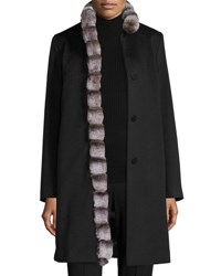 Fleurette Wool Coat W Rabbit Fur Trim Black