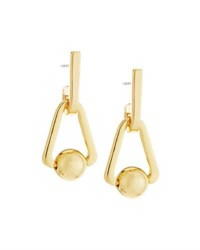 Rebecca Minkoff 12K Gold Plated Small Triangular Bead Drop Earrings