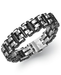 Macy's Men's Black Hardware Link Bracelet In Stainless Steel