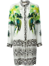Roberto Cavalli Tropical And Snakeskin Print Shirt Dress Red