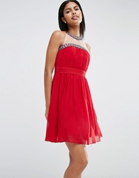 Little Mistress Embellished Halter Prom Dress Red