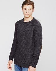 The Idle Man Fisherman Rib Knit Jumper Black