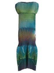 Issey Miyake Prism 2 Striped And Pleated Midi Dress Blue Multi