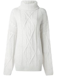 Faith Connexion Cable Knit Jumper White