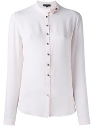 Salvatore Ferragamo Band Collar Shirt Pink And Purple