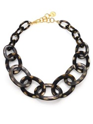 Nest Graduated Spotted Horn Link Necklace Tortoise
