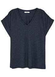 J. Lindeberg Jacy Navy Ruched Jersey T Shirt
