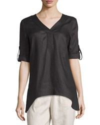 Neiman Marcus Linen Arched Hem Rolled Sleeve Tunic Black