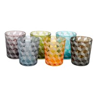 Pols Potten Tumbler Blocks Multicoloured Set Of 6