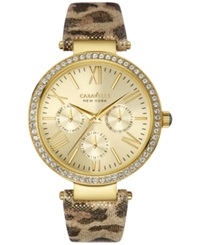 Caravelle New York By Bulova Women's Metallic Leopard Print Leather Strap Watch 38Mm 44N103 Women's Shoes