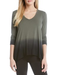 Karen Kane Ruched Sleeve Ombre Dye Tee Silver