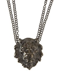 Lion Head Pendant Necklace Gunmetal Haute Hippie
