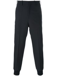 Neil Barrett Gathered Ankle Tailored Trousers Blue