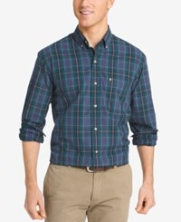 Izod Men's Big And Tall Non Iron Plaid Shirt Peacoat