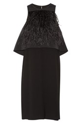 Tibi Feather Embellished Layered Stretch Faille And Crepe Dress Black
