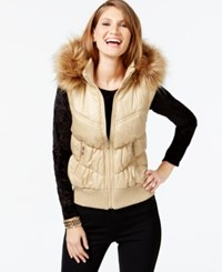 Inc International Concepts Faux Fur Trim Puffer Vest Only At Macy's Gold Fever