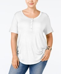 Stoosh Plus Size Henley T Shirt Off White