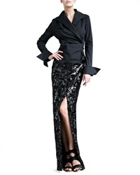 Donna Karan Swirl Sequin Long Scissor Skirt Petite