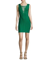 Herve Leger Sleeveless Lace Up Bandage Dress Pine Green