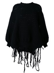 Simone Rocha String Detail Chunky Knit Jumper Black