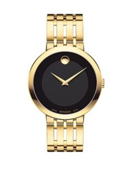 Movado Esperanza Yellow Gold Pvd Finished Stainless Steel Bracelet Watch Black