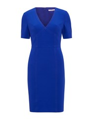 Gina Bacconi Stretch Moss Crepe Dress Blue