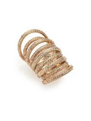 St. John Swarovski Crystal Multi Band Ring Goldtone