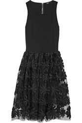 Maje Stretch Jersey And Embroidered Tulle Dress Black