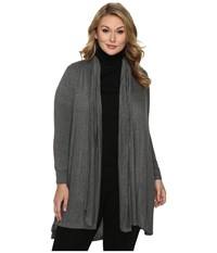 B Collection By Bobeau Curvy Plus Size Haider Knit Scarf Duster Charcoal Grey Women's Sweater Gray