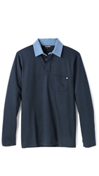 Baldwin Denim The Thomas Long Sleeve Polo Navy Combo