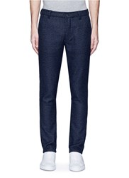Topman Skinny Fit Wool Blend Hopsack Pants Blue