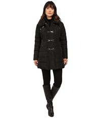 Jessica Simpson Three Clasp Breasted Down With Pillow Collar Black Women's Coat