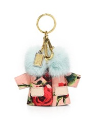 Dolce And Gabbana Floral Leather And Mink Fur Jacket Keychain Multi