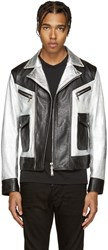 Dsquared Black And Silver Leather Kiodo Biker Jacket