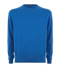 Harrods Of London Crew Neck Cashmere Jumper Male Blue
