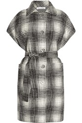 Oscar De La Renta Plaid Wool And Cashmere Blend Coat White