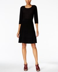 Tommy Hilfiger Crochet Ribbed Sweater Dress Black