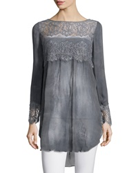 Calypso St. Barth Luspra Long Sleeve Lace Embellished Top Lava
