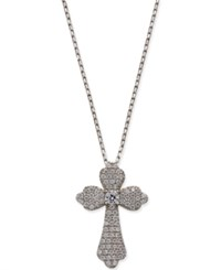 Giani Bernini Cubic Zirconia Pave Cross Pendant Necklace In Sterling Silver Only At Macy's