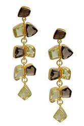 Saachi 18K Gold Clad Vine Dangle Smoky Topaz And Lemon Quartz Earrings Brown