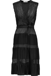 Sandro Ruth Wrap Effect Flocked Georgette And Pleated Chiffon Mini Dress Black