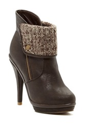 Legend Footwear Charlotte Fold Over Platform Stiletto Bootie Brown