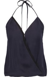 L'agence Celeste Wrap Effect Silk Chiffon Halterneck Top Midnight Blue