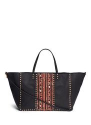 Valentino 'Rockstud Rolling' Large Tribal Print Leather Tote Black