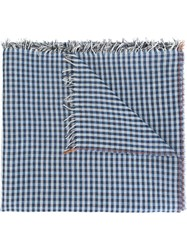 Massimo Alba Checked Scarf Blue